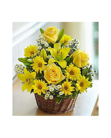 Yellow Rose and Lily Basket