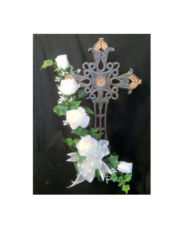 Standing Iron Cross With  Silk White Roses