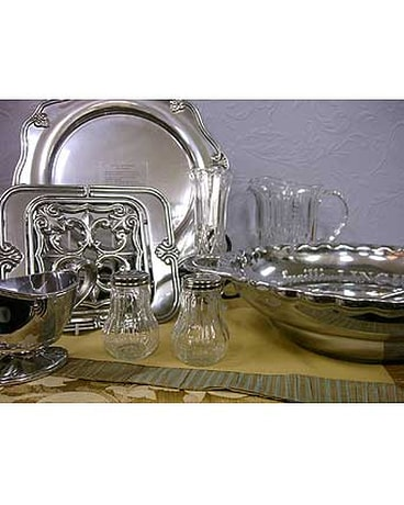 Lenox Butler's Pantry Metal Serveware with Gorham Pitcher and Bud Vase