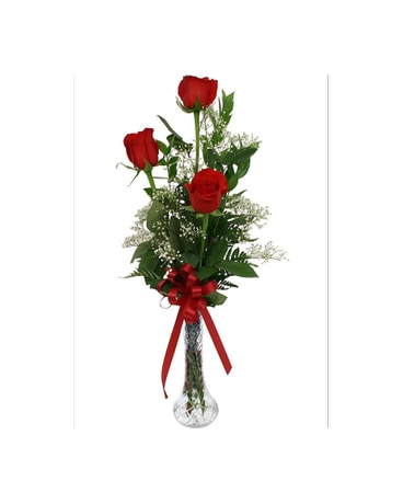3 Roses In Vase In Madison Me Country Greenery Florist Formal Wear
