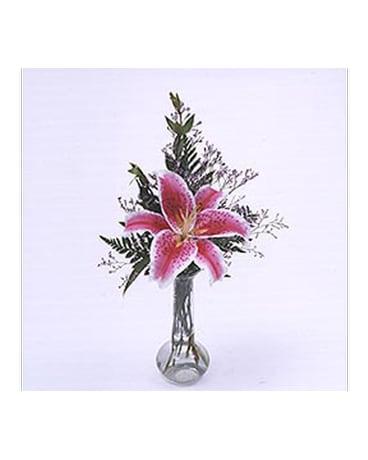 1 Stem Of Stargazer Lily In Vase In Madison Me Country Greenery