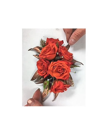Coral and Copper Corsage