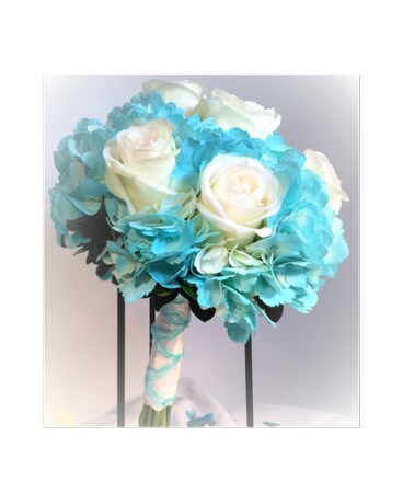 Timeless Turquoise and White Rose Bouquet