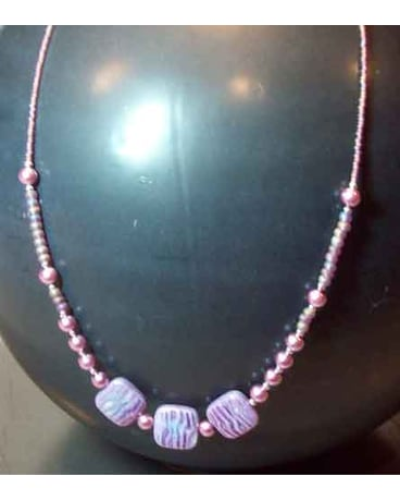 Purple Pearlized Swirl & Lavender Pearl Necklace