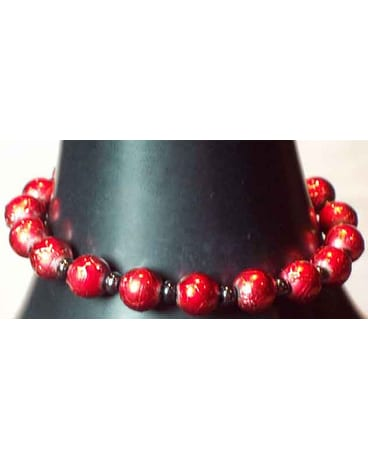 Crimson & Black Beaded Bracelet