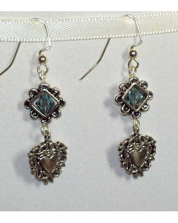 Steel Blue Swarovski Crystal And Heart Earrings