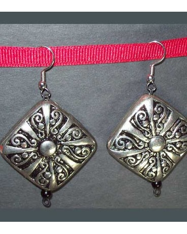 Silver & Black Ornate Earrings