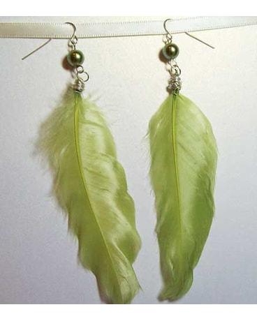 Light Green Feather Earrings