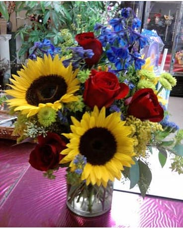 Sunflower And Forget Me Not Bouquet