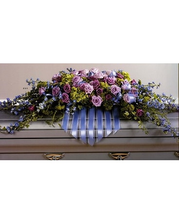 Delphinium and Lavender Rose Casket Spray