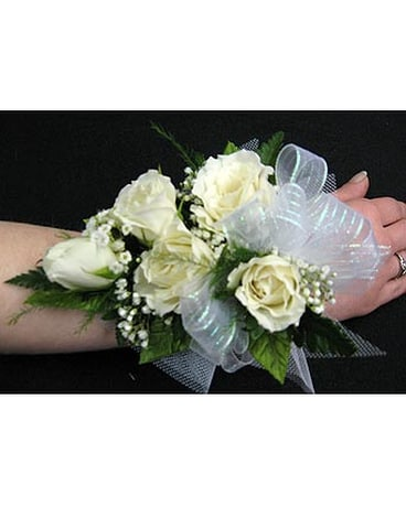 White Spray Rose Corsage / Wristlet