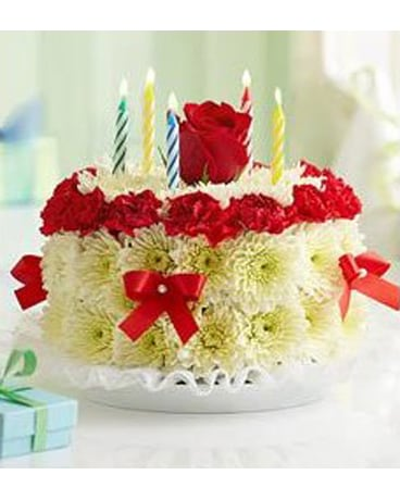 RED TRIM FLORAL BIRTHDAY CAKE