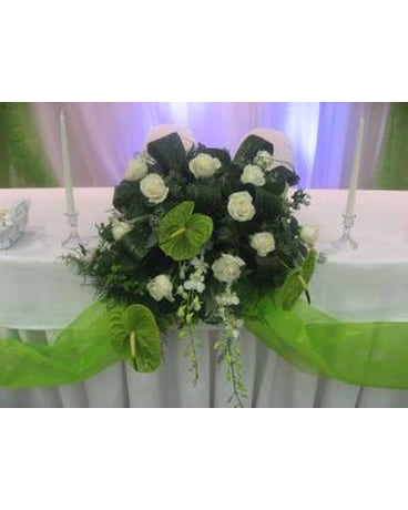 Head Table in Greens and Ivory