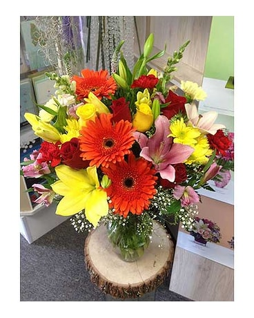 Large Vase Arrangement in Red and Yellow