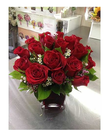 Bouquet with Red Roses in Square Vase