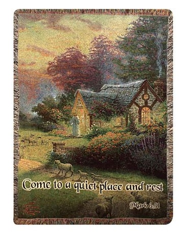Thomas Kinkade Throw, Quiet Place and Rest Tapestry Throw