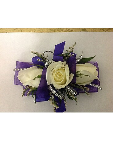 Corsage with purple ribbon white roses in modesto ca flowers by alis corsage with purple ribbon white roses mightylinksfo