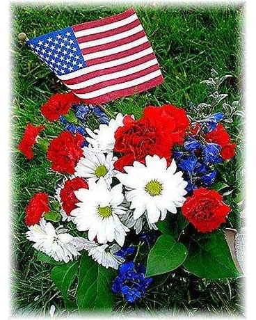 Mixed Patriotic Graveside Flowers