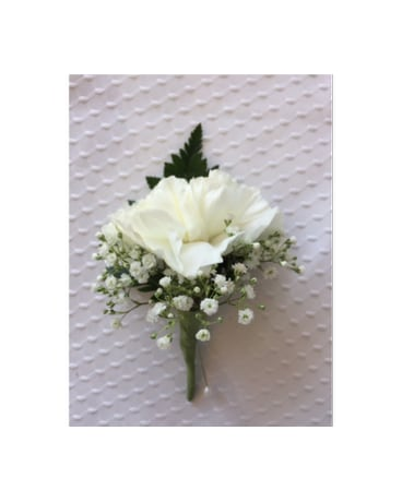 white carnation baby breath boutonniere in jensen beach fl