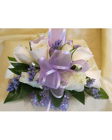 White with Lavender Corsage