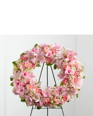 Heavenly Pink Sympathy Wreath