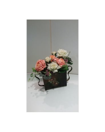 Roses In A Tin Vase In Vancouver Bc Flowerchild
