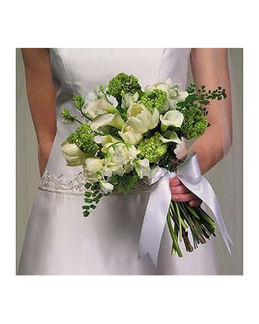 White Tulip And Calla Lily Bouquet With Viburnum