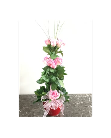 All My Love Pink Rose Topiary