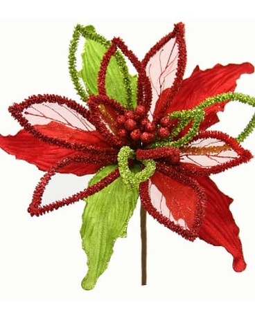 Large Chenille Crinkle Poinsettia