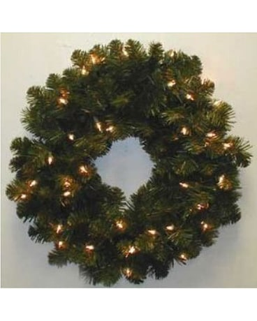 24in.Oregon Fir Wreath Cl. Lite
