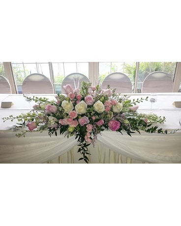 Pink and white head table centerpiece in latrobe pa floral fountain pink and white head table centerpiece mightylinksfo