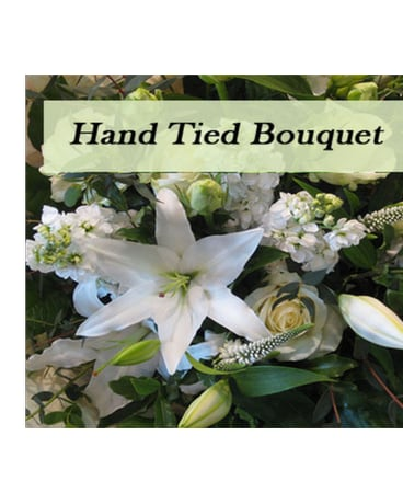 Hand tied bouquet in white & green tones