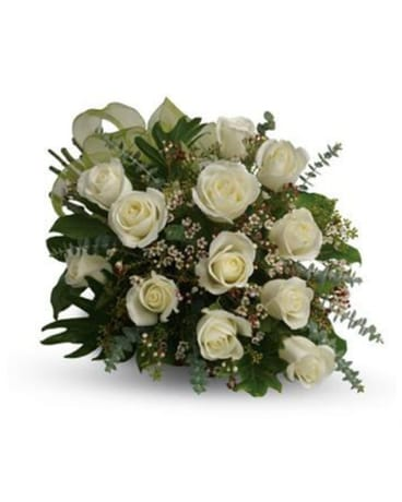 1 Dz White Roses, Hand tied & wrapped