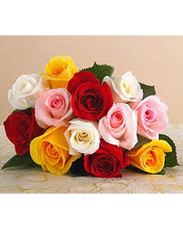 12 Mixed Roses Wrapped