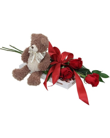 3 Red Roses, Teddy and Chocolates