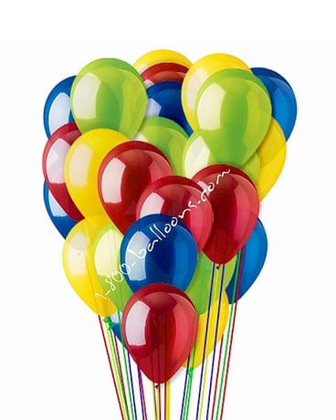 25 Red Yellow Blue & Green Latex Balloons