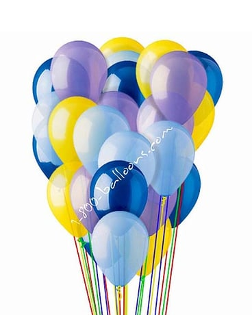 25 Blue,Lt Blue,Lavender & Yellow Latex Balloons