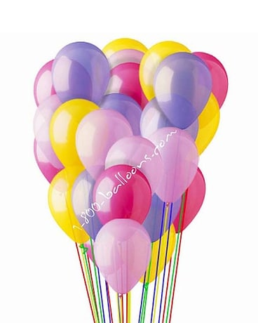 25 Pink, Hot Pink, Lavender & Yellow Latex Balloon