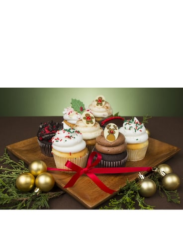 Christmas Flower Box of Cupcakes