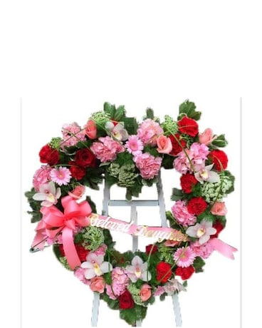 Pink and red heart wreath in princeton nj monday morning flower pink and red heart wreath mightylinksfo