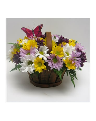 Multi Colored Daisy Basket