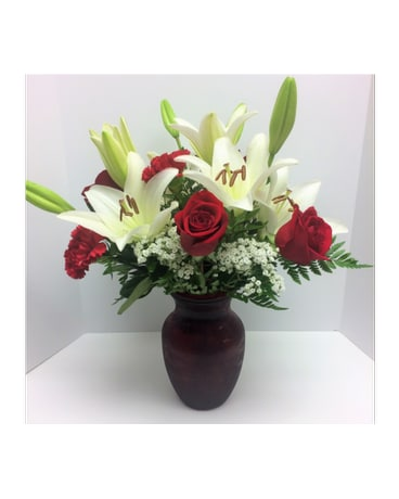 Romantic Rose and Lily Vase