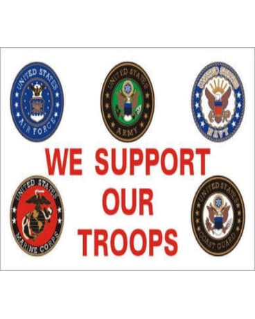 3' x 5' polyester flag, We Support Our Troops, w
