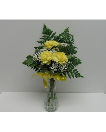 Yellow Carnation Bud Vase In Waverly Ny Jaynes Flowers And Gifts