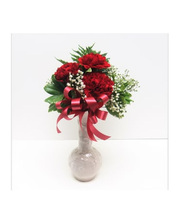Red Carnation Bud Vase In Waverly Ny Jaynes Flowers And Gifts