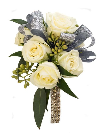 Rose Corsage with Rhinestone Wristlet