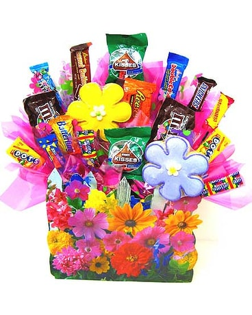 CB153 ''Floral Garden'' Candy & Cookie Bouquet
