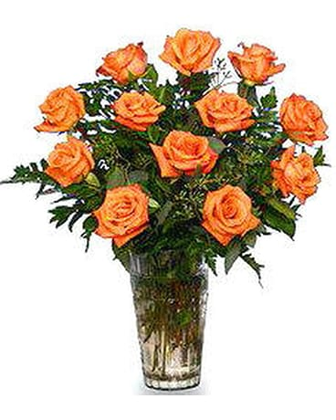 FF156OR  Dozen Orange Roses Arranged in Vase