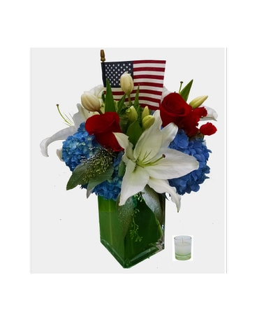 Red, white and blue blooms