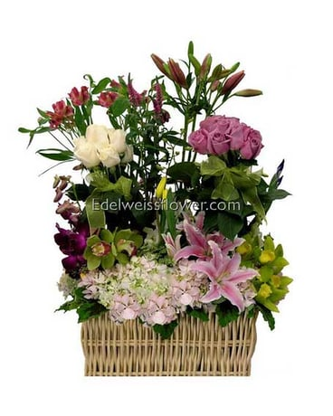 Basket Full of Posies Flower Bouquet
